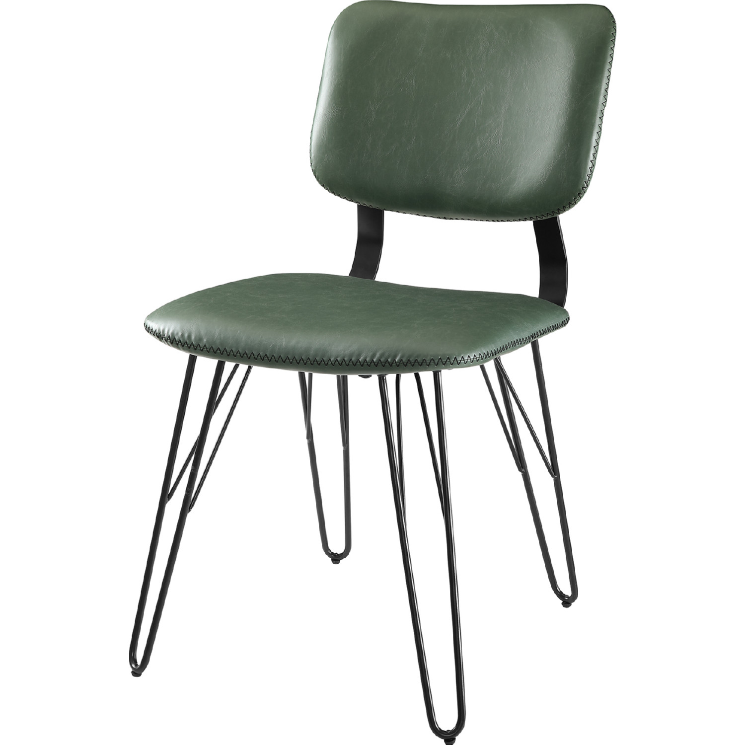 Mid Century Dining Chair In Green Poly On Hairpin Legs Set Of 2 By Walker Edison