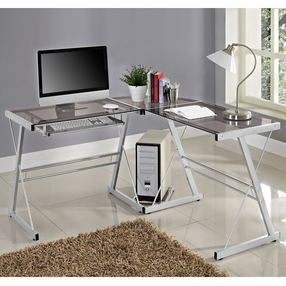3 Piece Contemporary Desk In Silver Smoke By Walker Edison