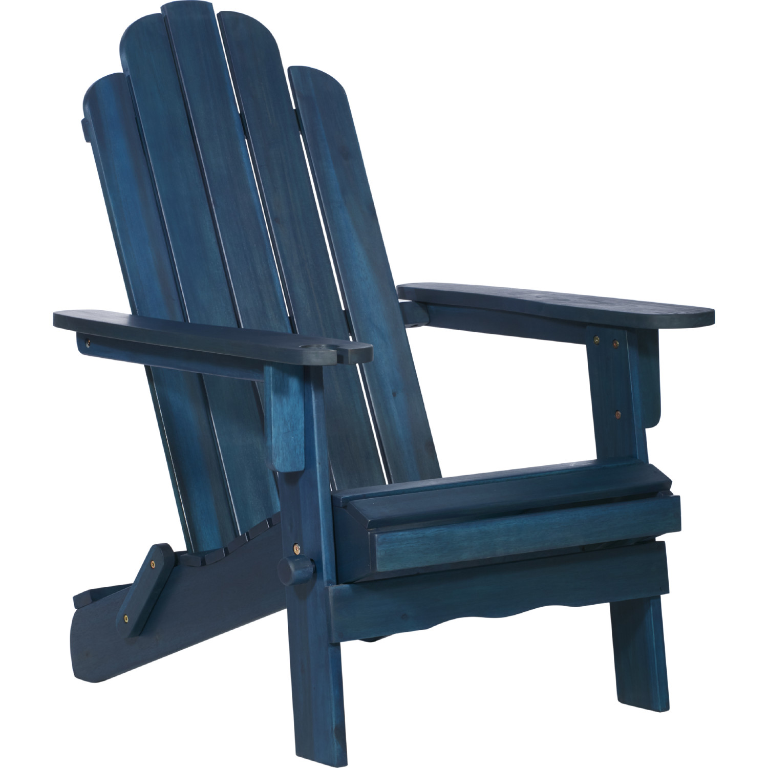 Outdoor Patio Adirondack Chair In Navy Blue Wash Acacia Wood By Walker Edison
