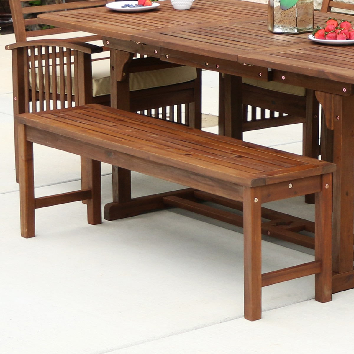 Acacia Wood Patio Bench In Dark Brown Solid Acacia