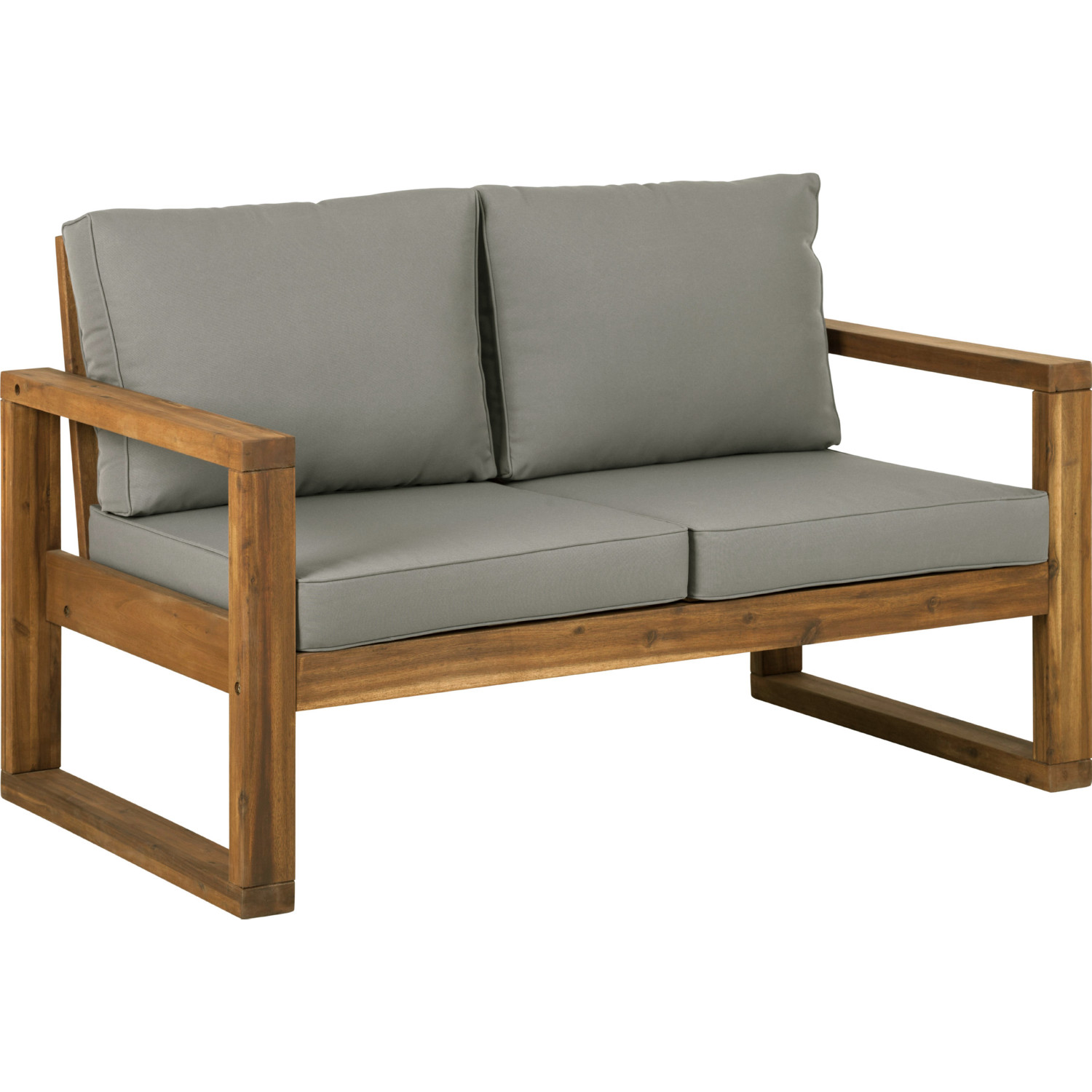 Sensational Modern Patio Loveseat In Brown Acacia Grey Fabric By Walker Edison Alphanode Cool Chair Designs And Ideas Alphanodeonline