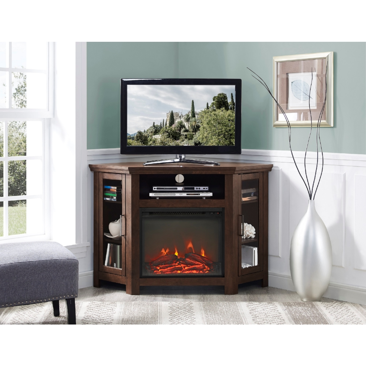 Walker Edison W48fpcrtb 48 Quot Wood Corner Fireplace Tv Stand