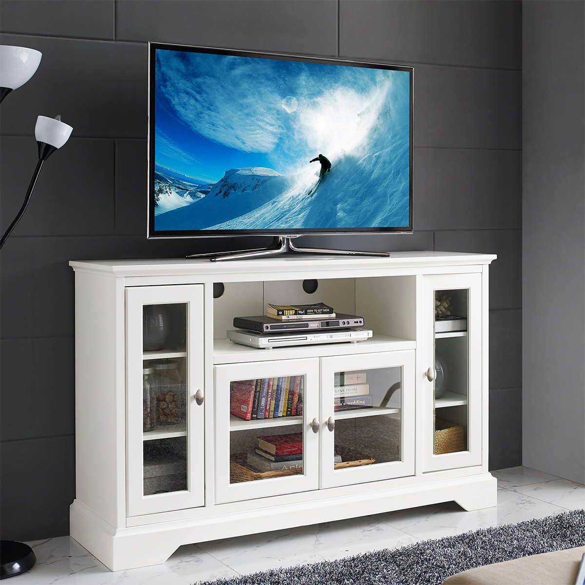 Walker Edison W52c32wh 52 Highboy Style Wood Tv Stand In White W