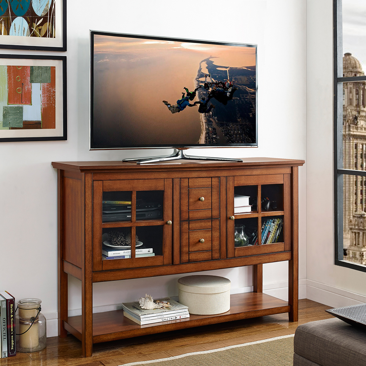 Walker Edison W52c4ctrb 52 Quot Wood Console Table Tv Stand In