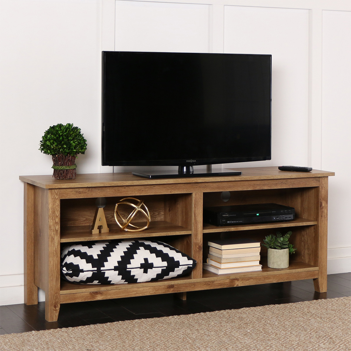 Walker Edison W58cspbw 58 Quot Barnwood Wood Tv Stand Console