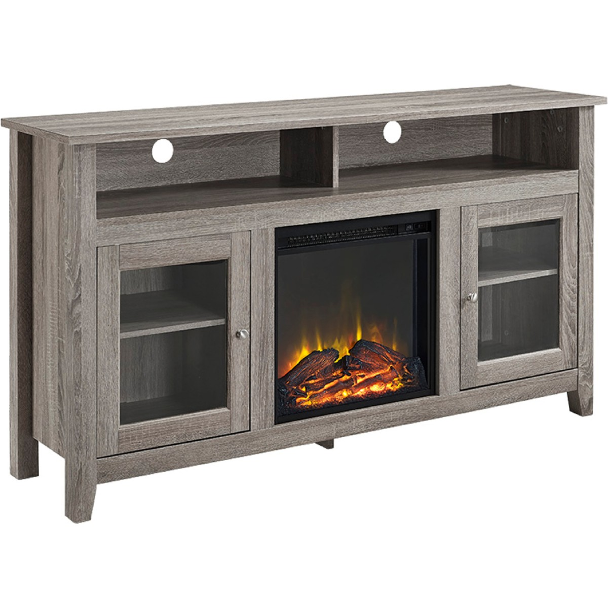Walker Edison W58fp18hbag 58 Wood Highboy Fireplace Tv Stand In Driftwood