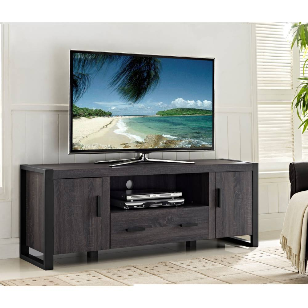 walker edison w60ubc22cl 60 u0026quot  distressed charcoal grey wood tv stand console