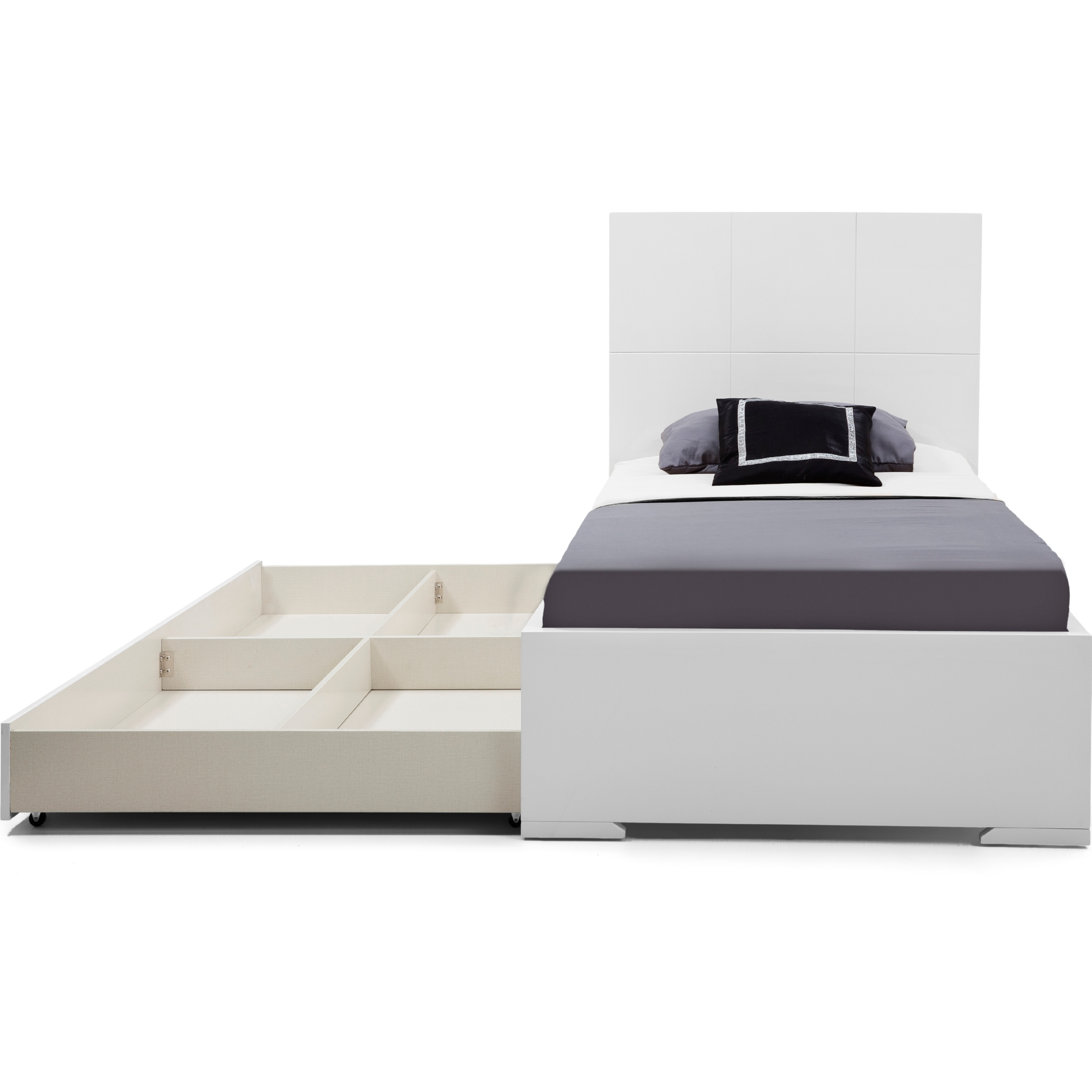 Whiteline Imports Bt1207t Wht Anna Twin Bed W Trundle In High Gloss