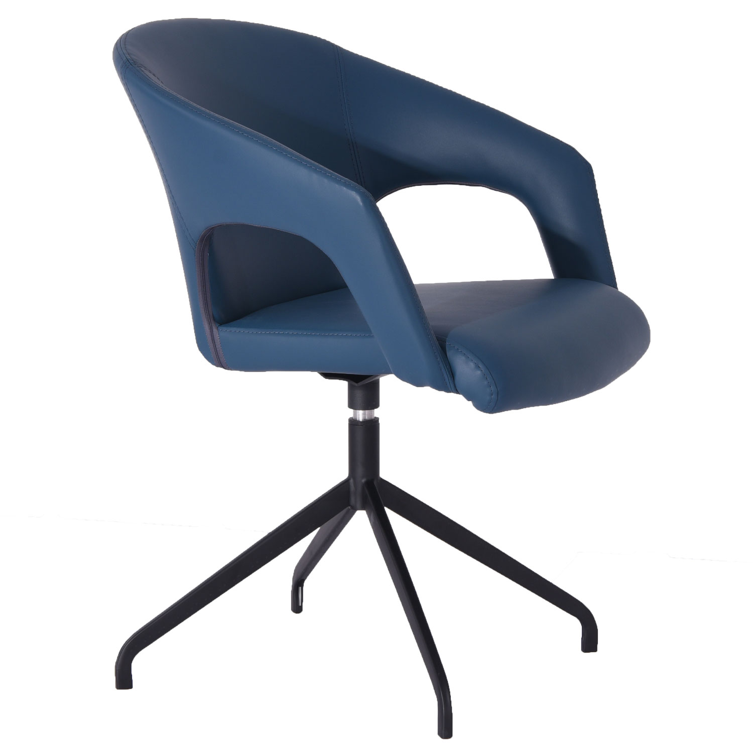 Peachy Gordon Swivel Dining Chair In Navy Leatherette On Black Metal Legs Set Of 2 By Whiteline Imports Machost Co Dining Chair Design Ideas Machostcouk