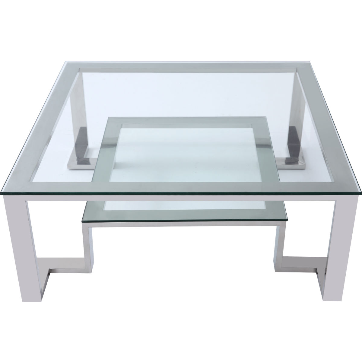 Square Coffee Table Glass Top.Fab Square Coffee Table W Glass Top On Stainless Steel Base By Whiteline Imports