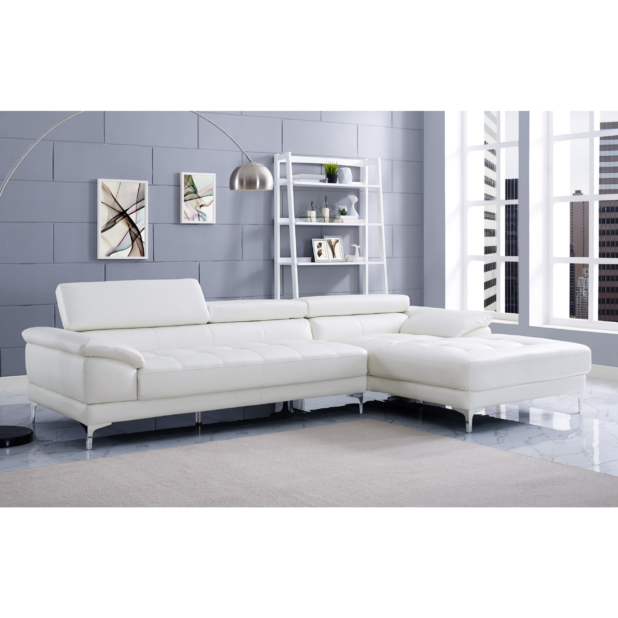 Whiteline Imports SR1342P WHT Monroe Sectional Sofa w Chaise on
