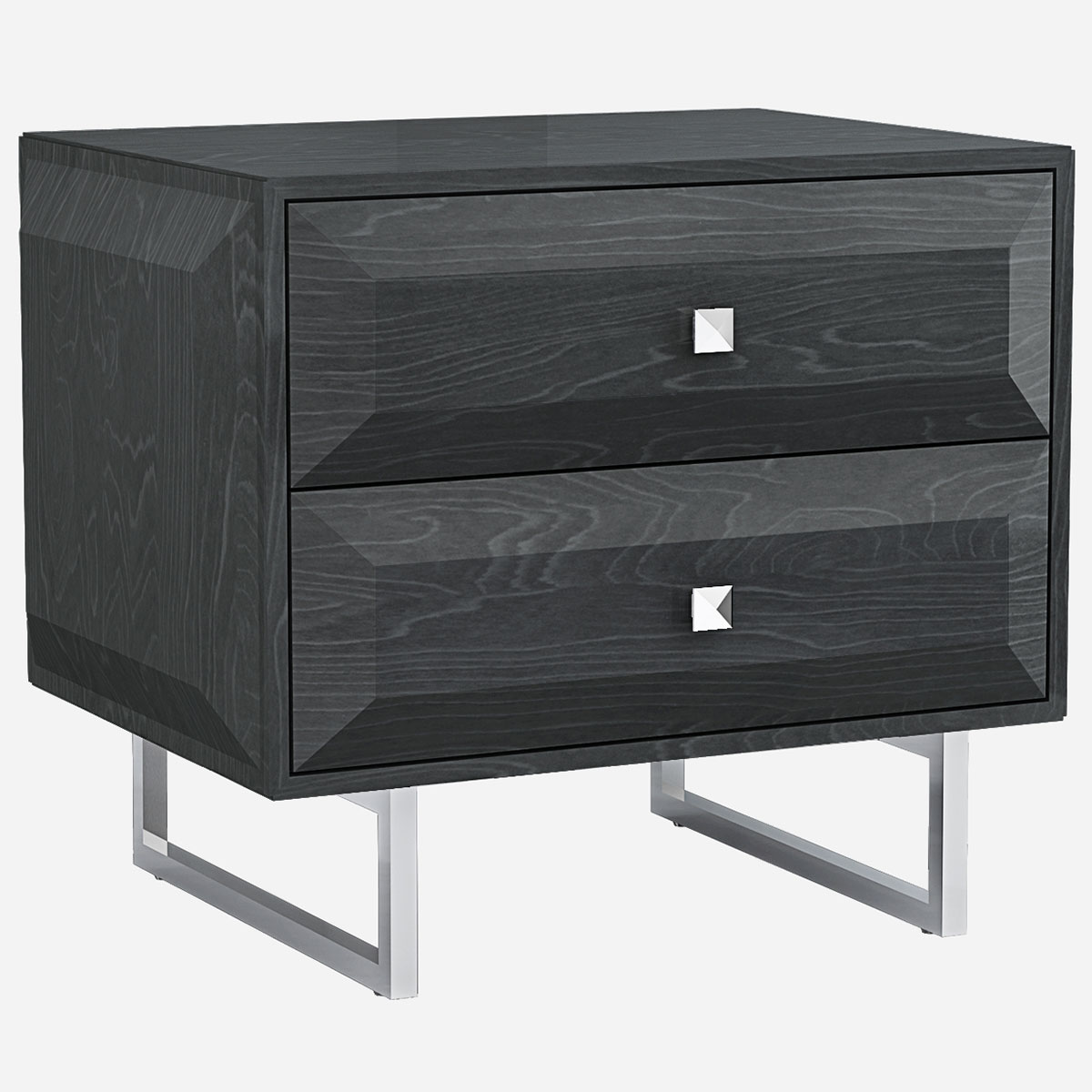 Abrazo Nightstand In High Gloss Dark Gray On Stainless Steel Base By Whiteline Imports
