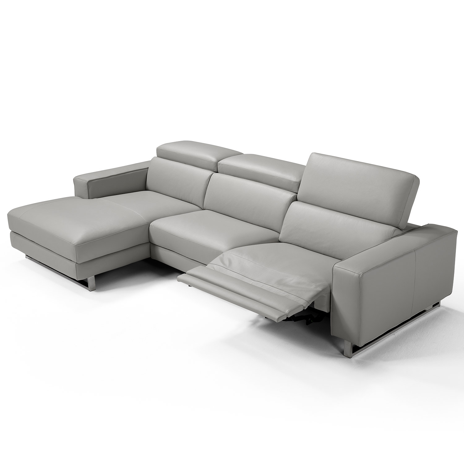 Augusto Sectional Sofa w/ Left Chaise & Right Recliner in Grey Top Grain  Italian Leather by Whiteline Modern Living