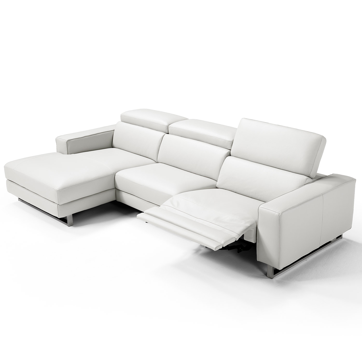 Whiteline Imports SL1403L WHT Augusto Sectional Sofa w Chaise on