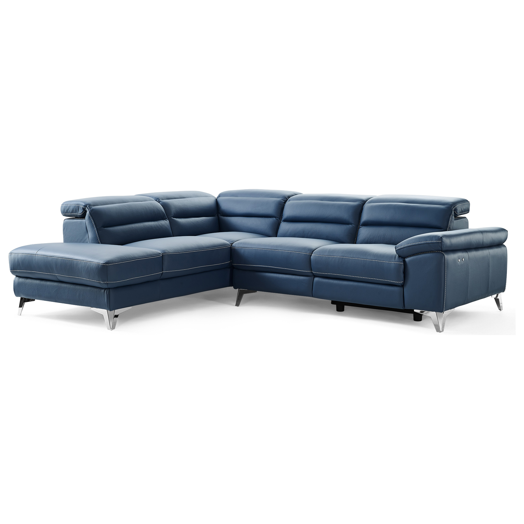 Terrific Johnson Sectional Sofa W Chaise On Left In Navy Blue Top Grain Italian Leather On Stainless Legs By Whiteline Modern Living Pabps2019 Chair Design Images Pabps2019Com