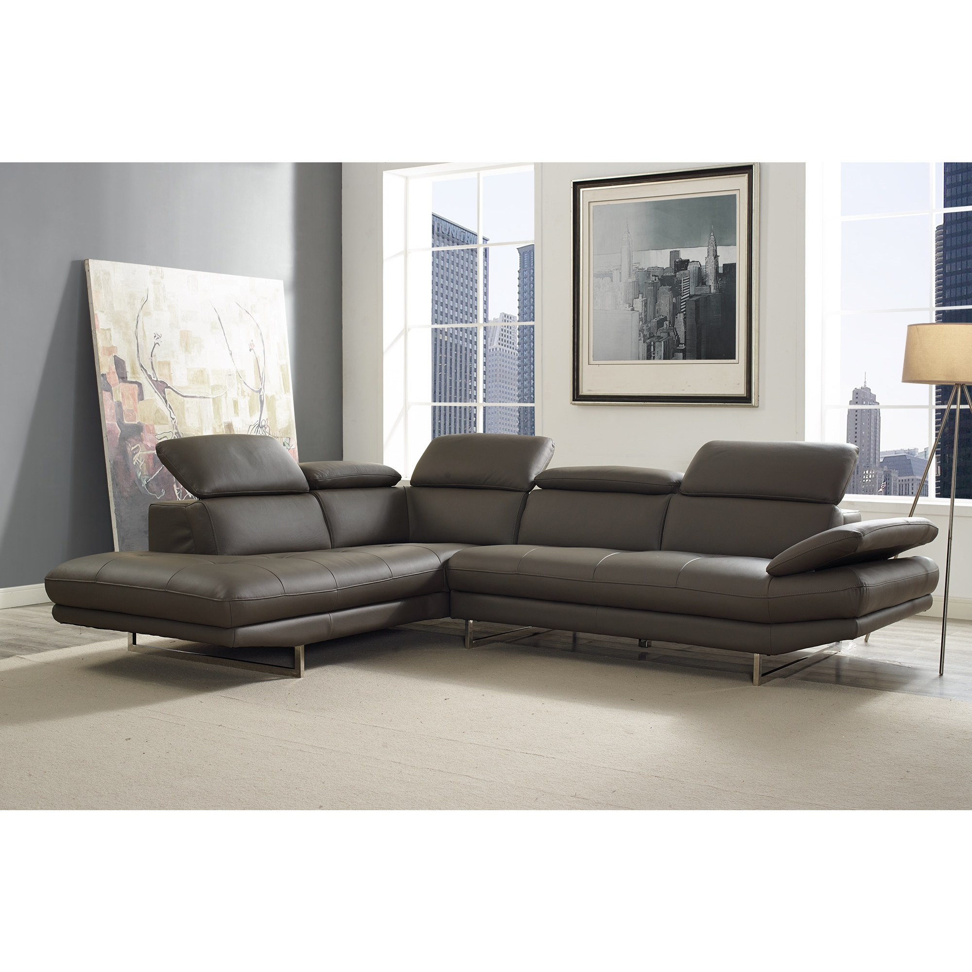 Whiteline Imports SL1351L DGRY Pandora Sectional Sofa w Chaise on