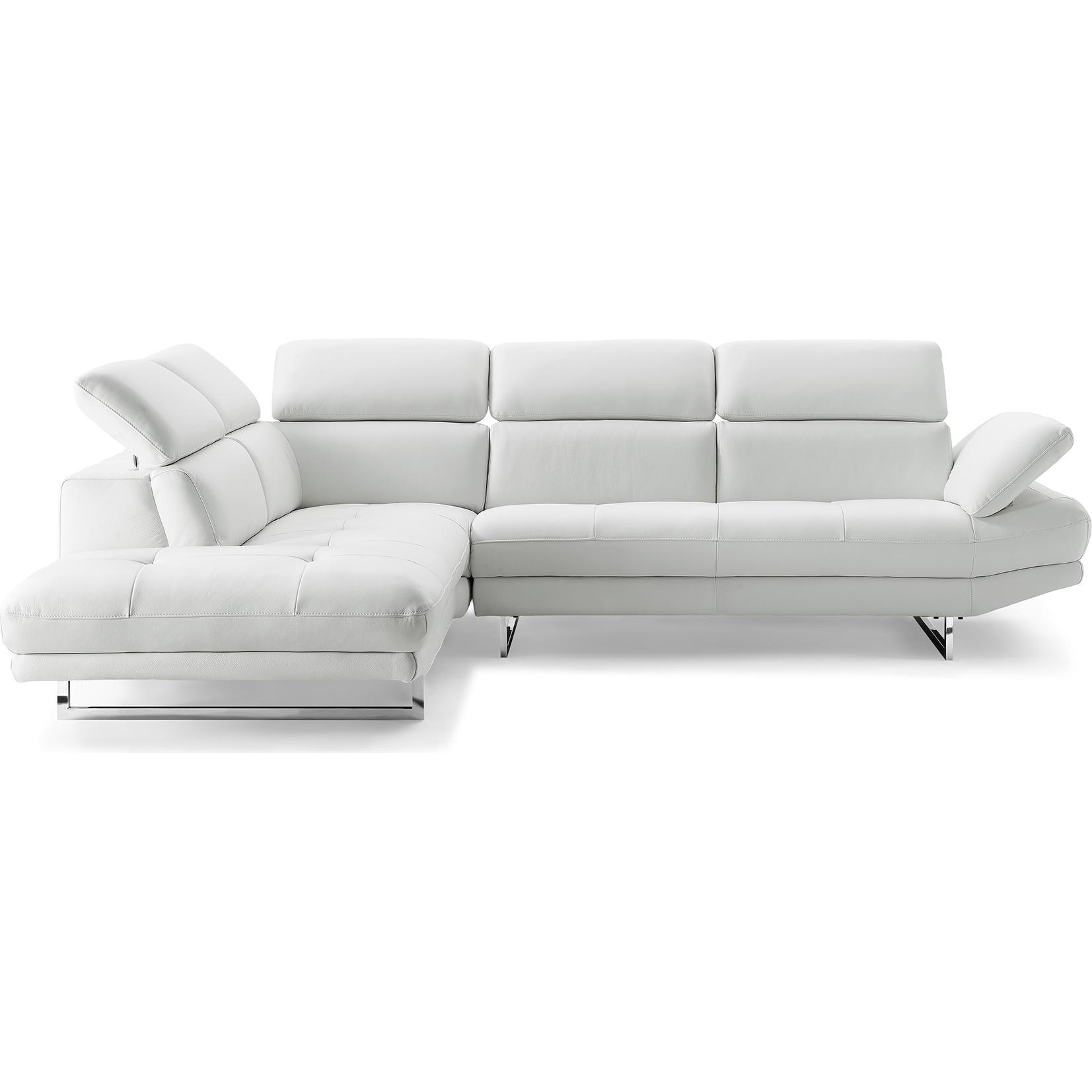 Whiteline Imports SL1351L WHT Pandora Sectional Sofa w Chaise on