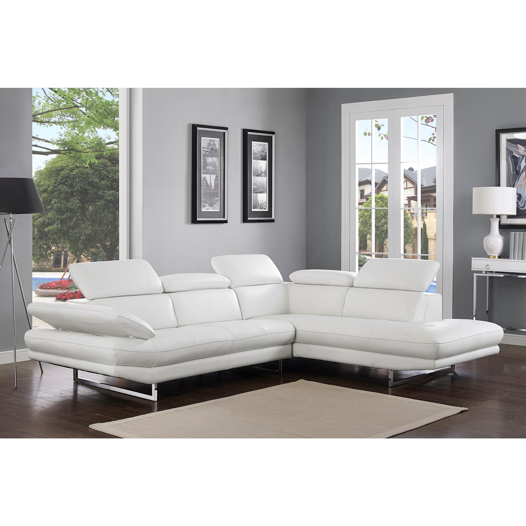 Whiteline Imports SR1351L WHT Pandora Sectional Sofa w Chaise on
