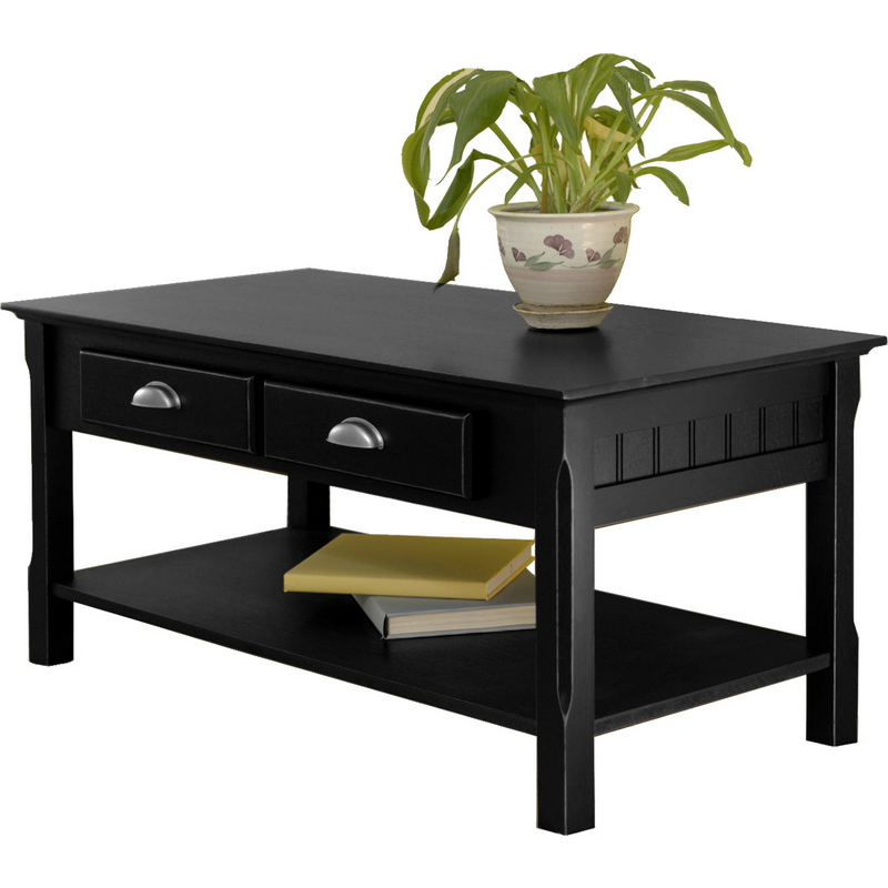 Coffee Table Leather Drawers: Winsome 20238 Timer Coffee Table Drawers & Shelf In Black