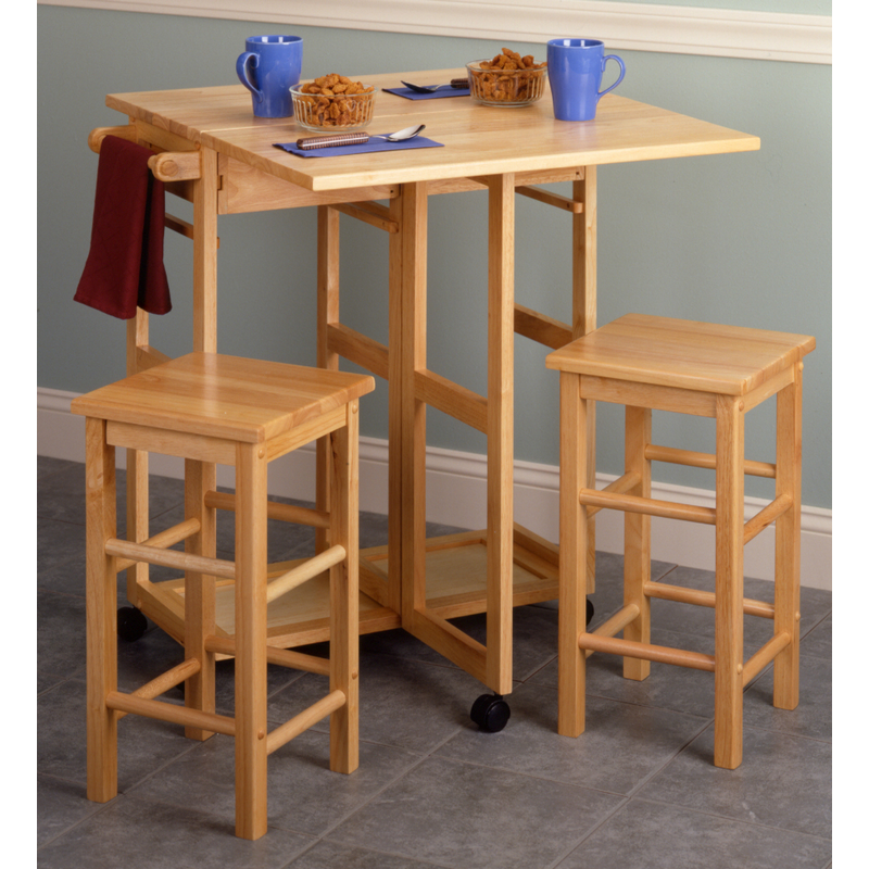 Winsome 89330 Space Saver Drop Leaf Table W/ 2 Square Bar Stools In Beech
