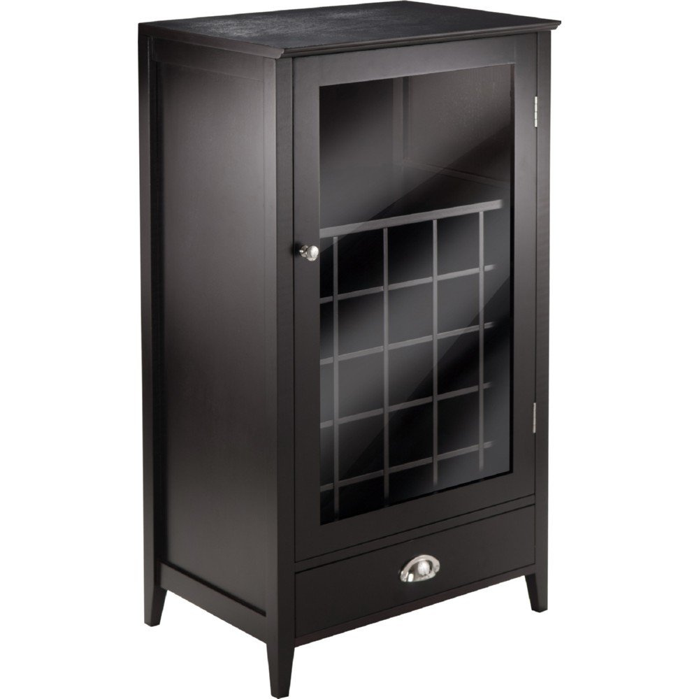 winsome 92455 bordeaux modular wine cabinet w 25 bottle slot in espresso finish. Black Bedroom Furniture Sets. Home Design Ideas