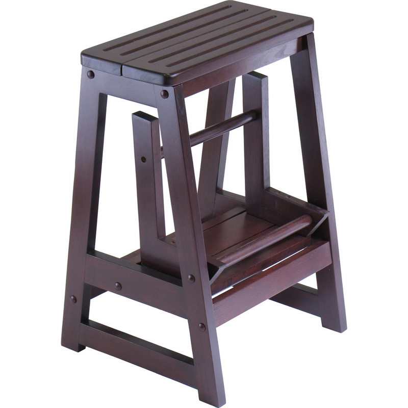 Phenomenal Double Step Ladder Stool In Antique Walnut By Winsome Pabps2019 Chair Design Images Pabps2019Com
