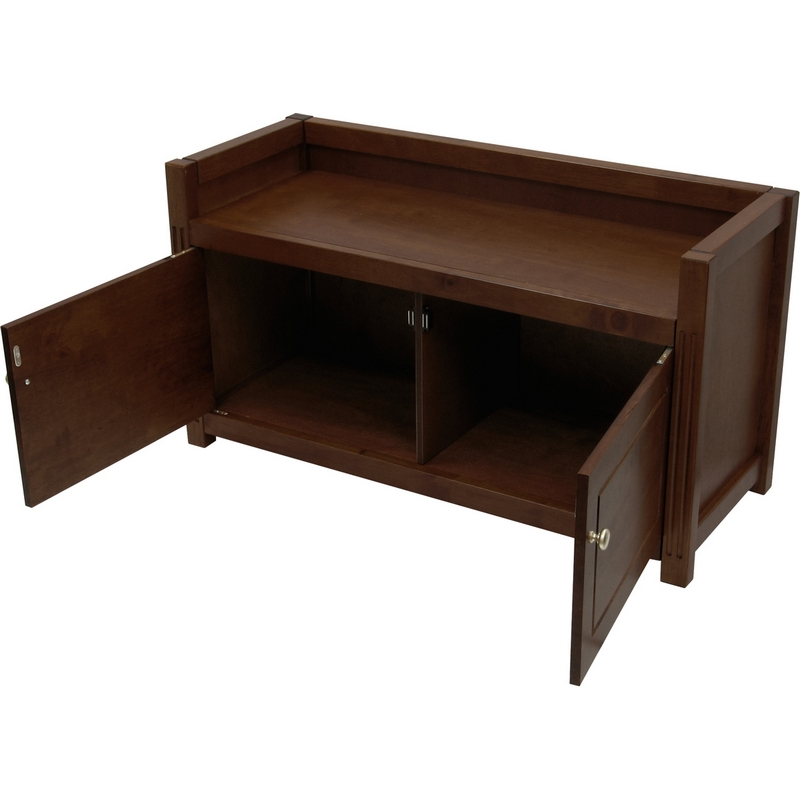 Outstanding Regalia Bench W Storage In Antique Walnut By Winsome Theyellowbook Wood Chair Design Ideas Theyellowbookinfo