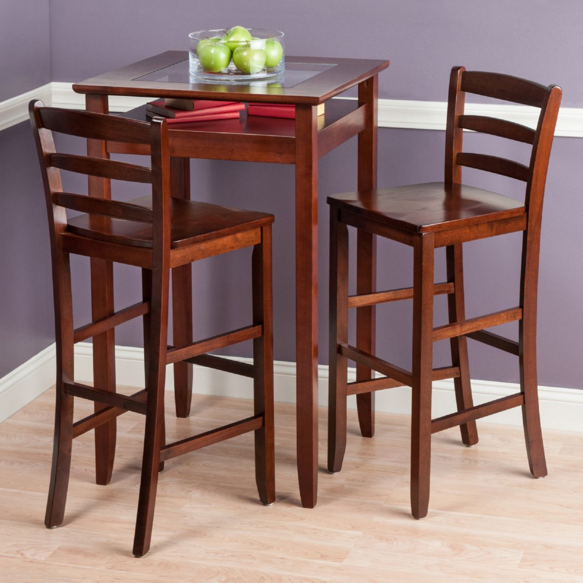 Cafe table and chairs design - Winsome Halo 3 Piece Pub Table Set W 2 Ladder Back Stools In Walnut