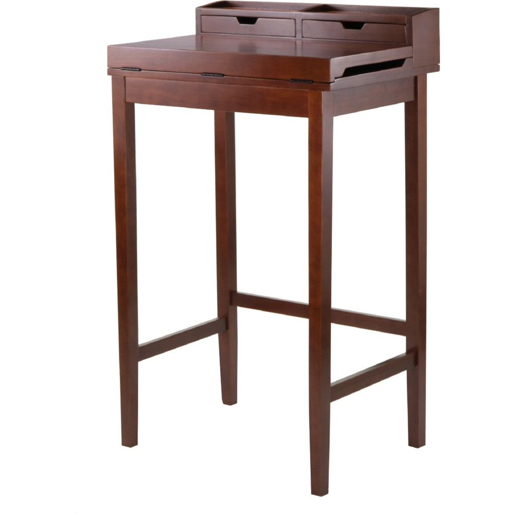 Brighton High Standing Desk w/ 2 Drawers in Antique Walnut - Winsome 94628  Brighton High - Antique Standing Desk Antique Furniture