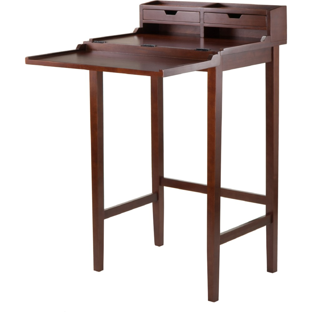 Winsome Brighton High Standing Desk W 2 Drawers In Antique Walnut