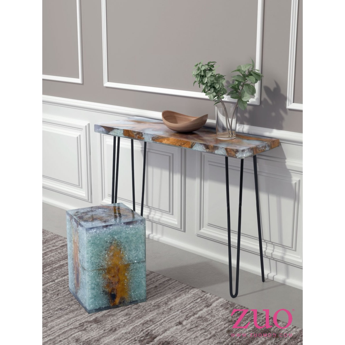 fissure console table in reclaimed teak wood acrylic u0026 glass shards