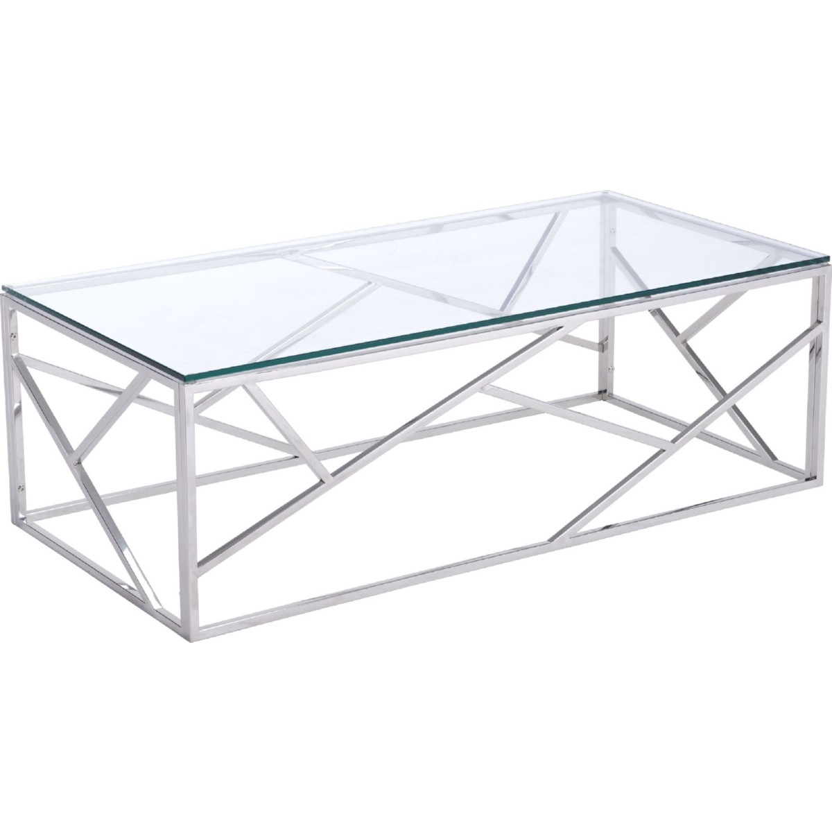 Zuo Modern Coffee Table Zuo Modern 100179 Cage Coffee Table In Polished Stainless Steel W