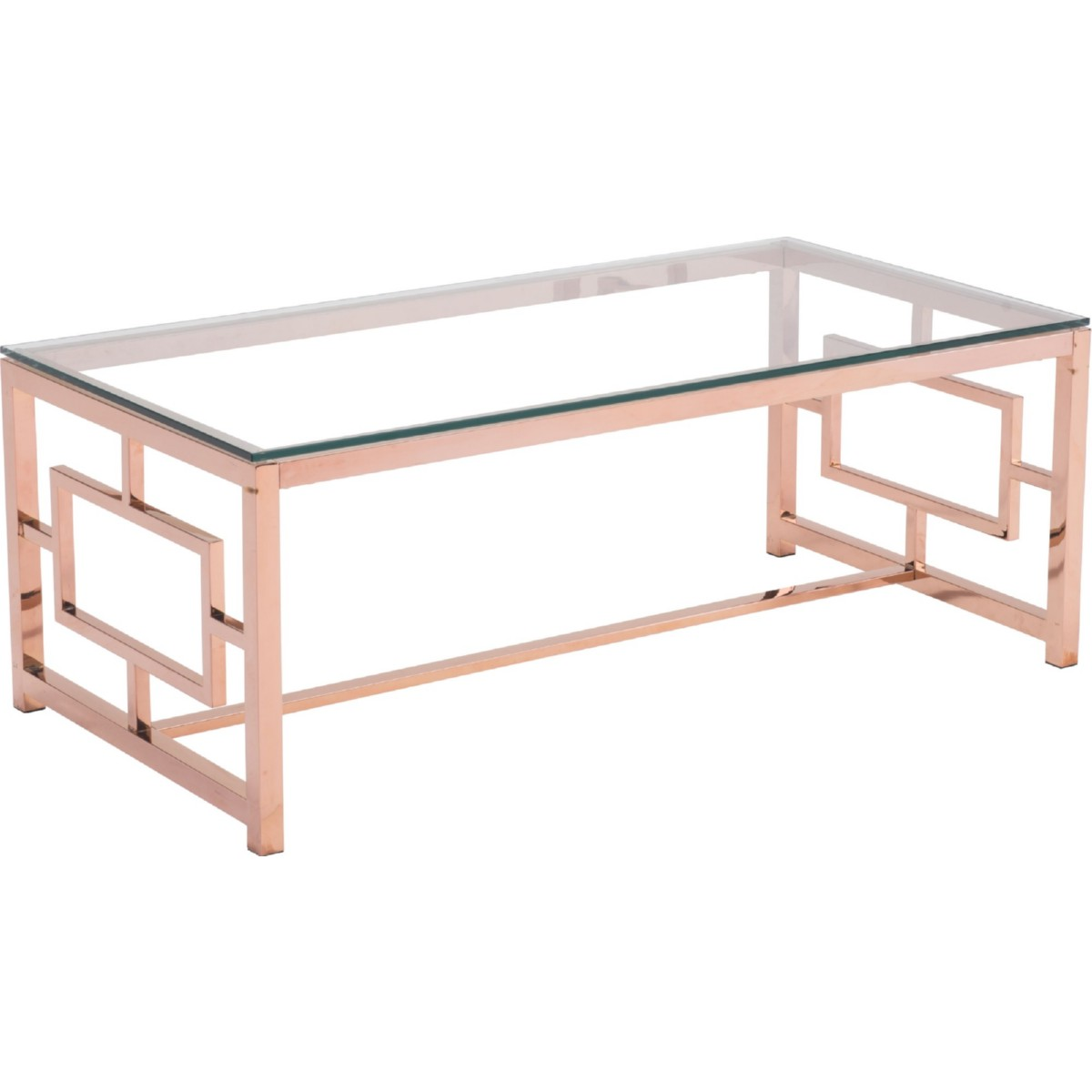 Zuo Modern Geranium Coffee Table in Polished Rose Gold w