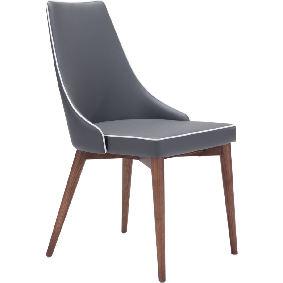 Zuo 100278 Moor Dining Chair In Dark Gray Leatherette W