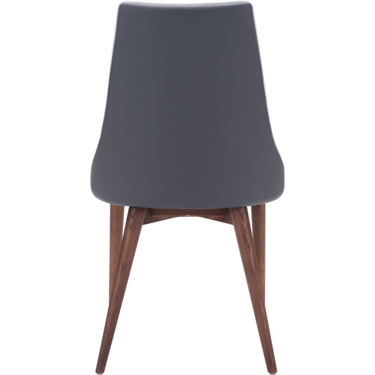 Zuo Modern Moor Dining Chair In Dark Gray Leatherette W/ Contrast Piping On  Tapered Wood Legs (Set Of 2)