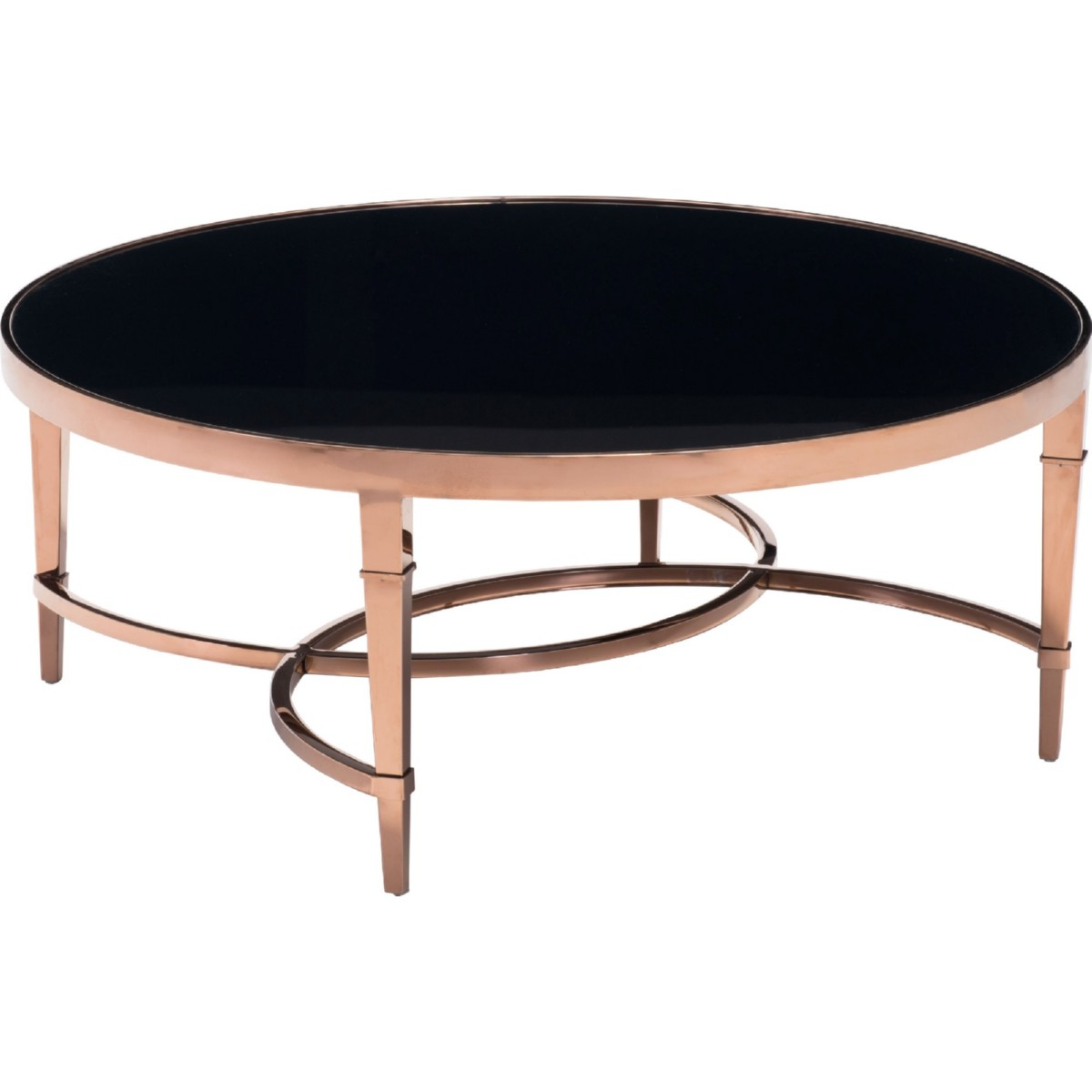 Round black glass coffee table - Zuo Modern Elite Coffee Table In Polished Rose Gold W Round Black Glass Top