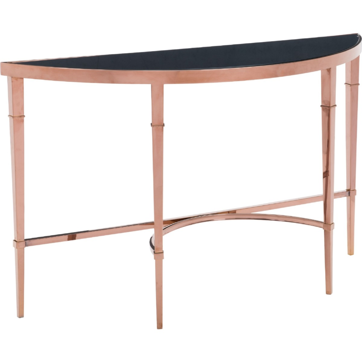 Zuo Modern Furniture 100348 Elite Console Table In Polished Rose Gold W Demilune Black Gl Top