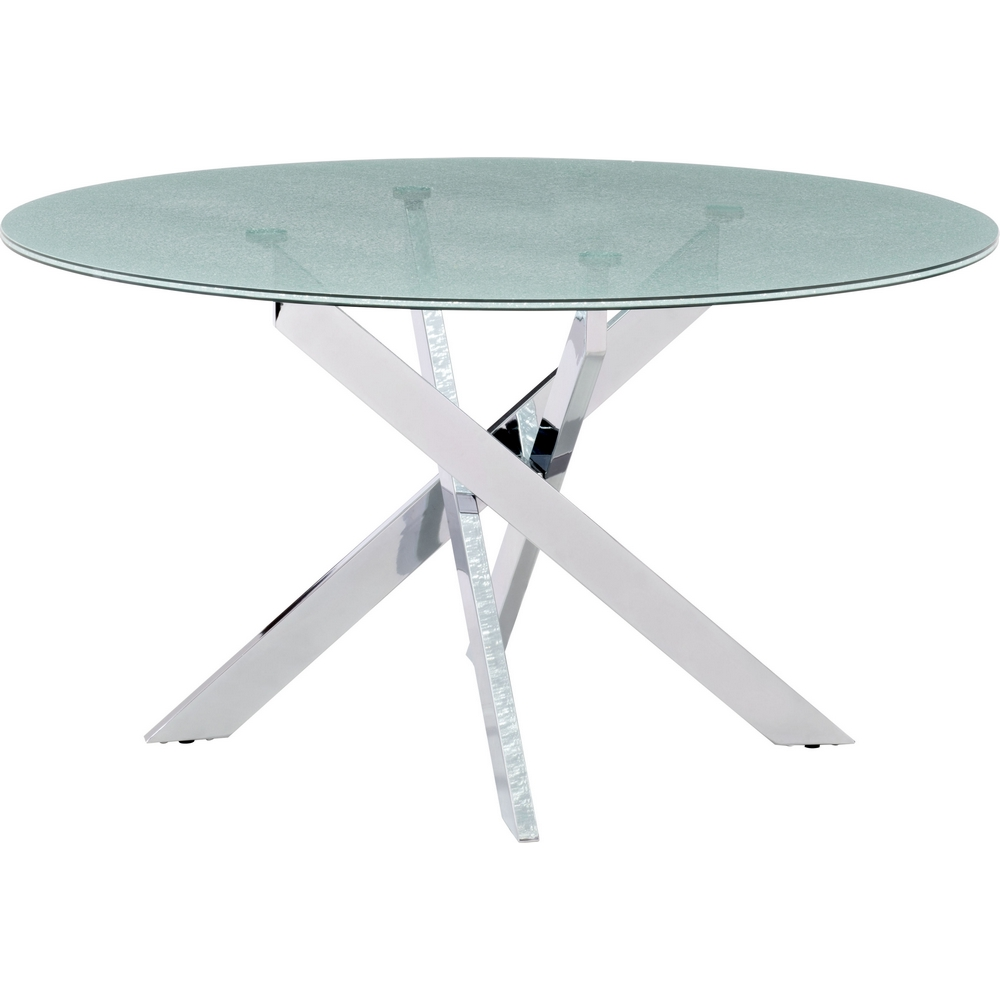 Stance Dining Table W Chrome Base Round Led Gl Top By Zuo