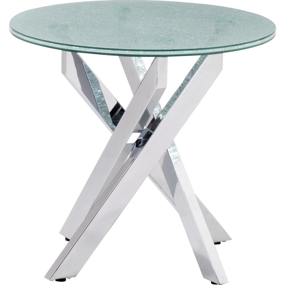 Stance Side Table W/ Chrome Base U0026 Round Crackled Glass Top