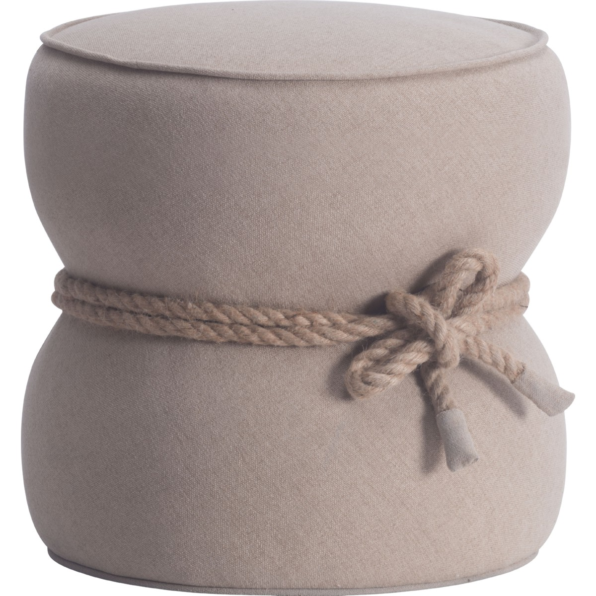 check out a6c54 d1bff Tubby Ottoman in Beige Fabric in Hourglass Shape w/ Nautical Rope Trim by  Zuo