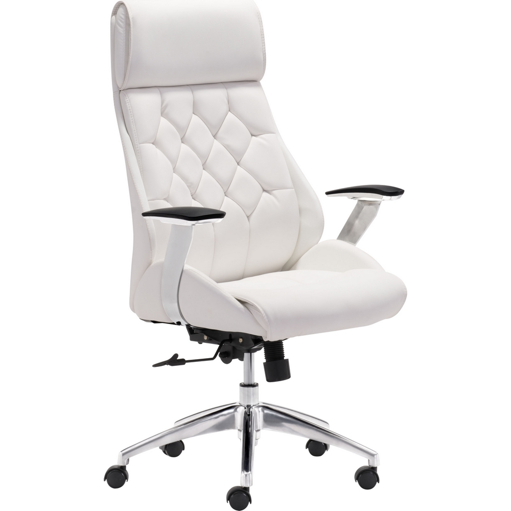 Boutique Office Chair In White Tufted Leatherette On Casters By Zuo
