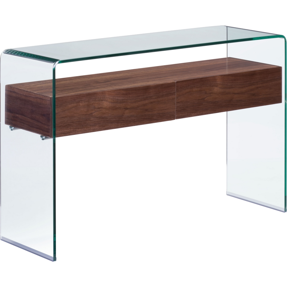 zuo modern 404067 shaman console table in curved glass w thick
