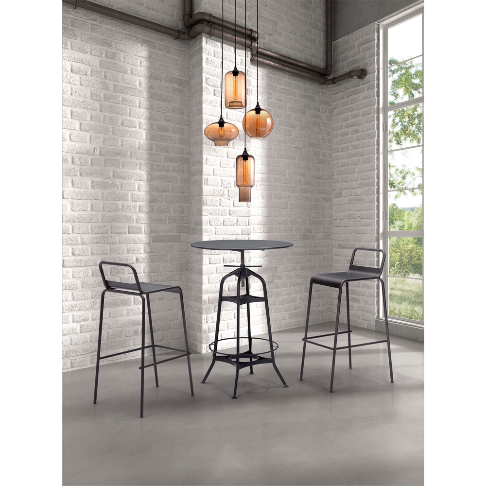 Zuo Modern Lambie Ceiling Lamp W 4 Shapes In Amber Glass Rust Bases