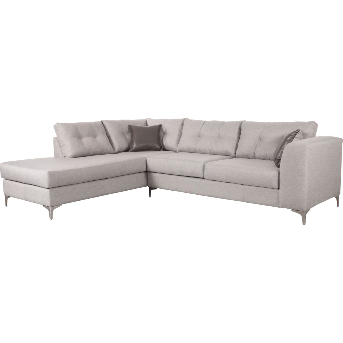 Memphis Left Hand Facing Sectional Sofa In Smoke Fabric U0026 Polished  Stainless Legs