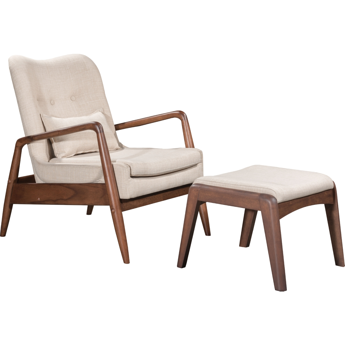 Zuo Modern Furniture 100536 Bully Lounge Chair U0026 Ottoman Set In Tufted  Beige Fabric On Wood Frame