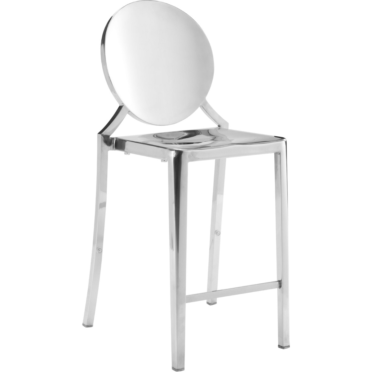 Zuo 100551 Eclispe Counter Chair In Polished Stainless