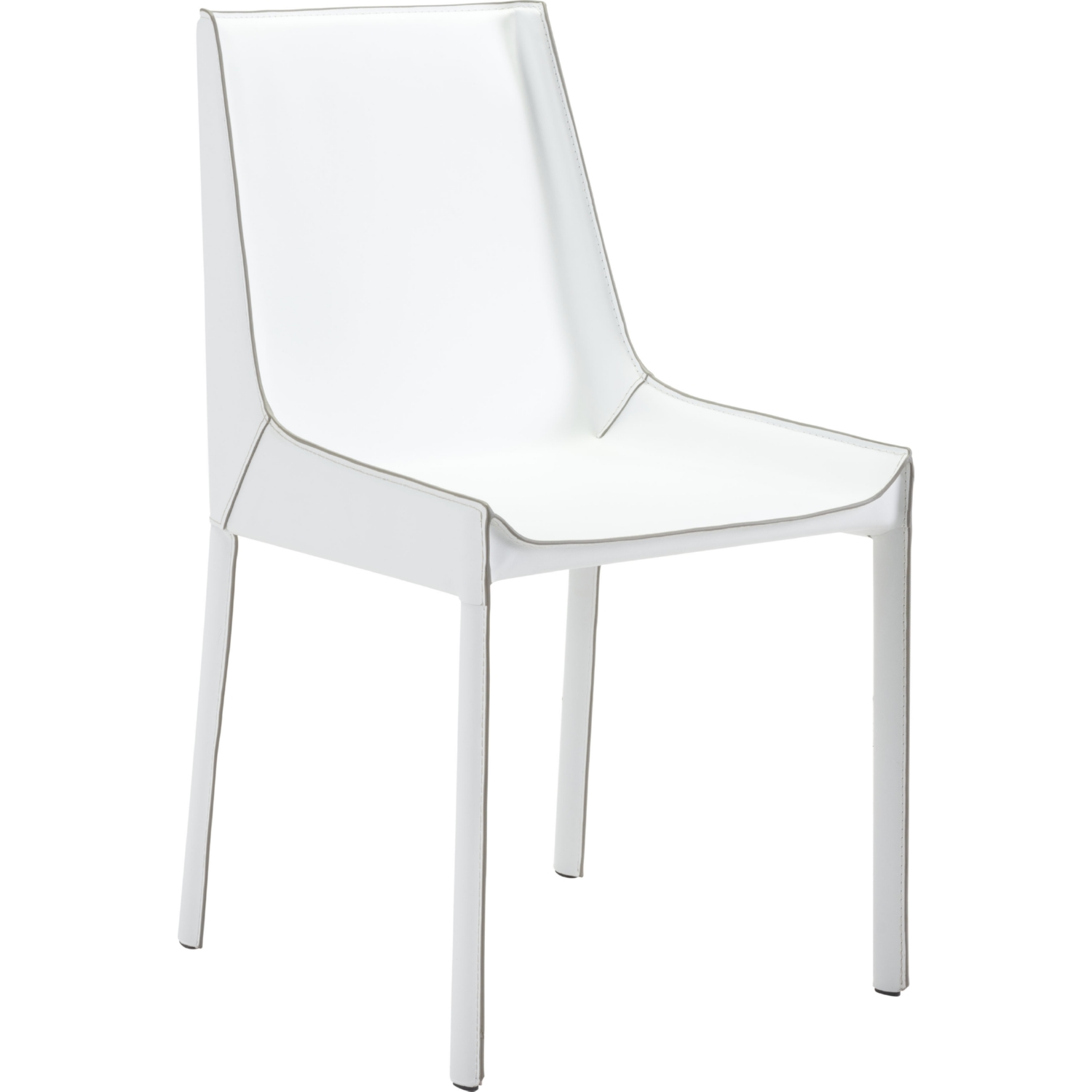 Remarkable Fashion Dining Chair In White Recycled Leather W Exposed Seam Set Of 2 By Zuo Gmtry Best Dining Table And Chair Ideas Images Gmtryco