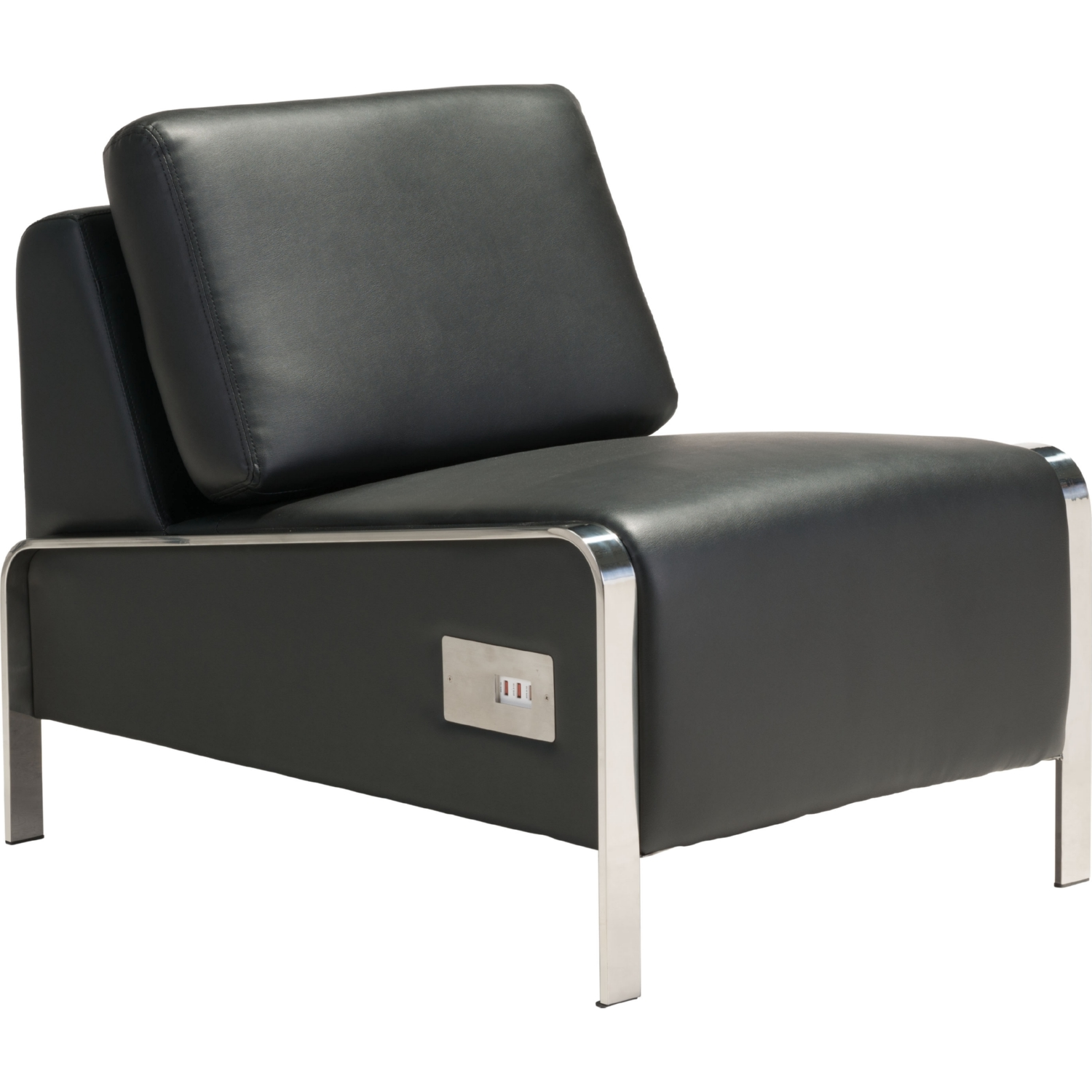 Zuo Modern Thor Armless Chair in Black Leatherette & Chrome
