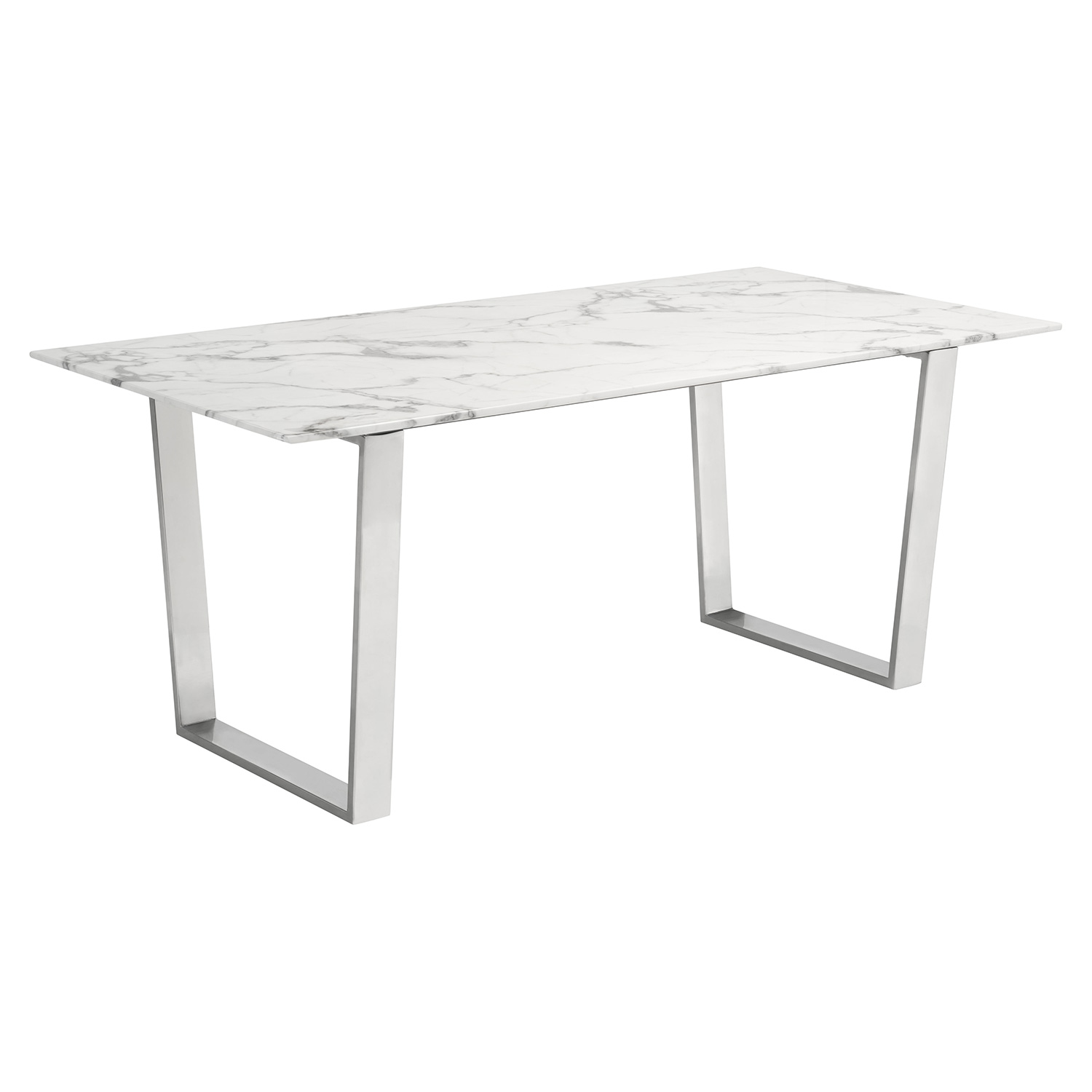 Atlas 70 Dining Table W Faux Marble Top On Stainless Steel Legs By Zuo