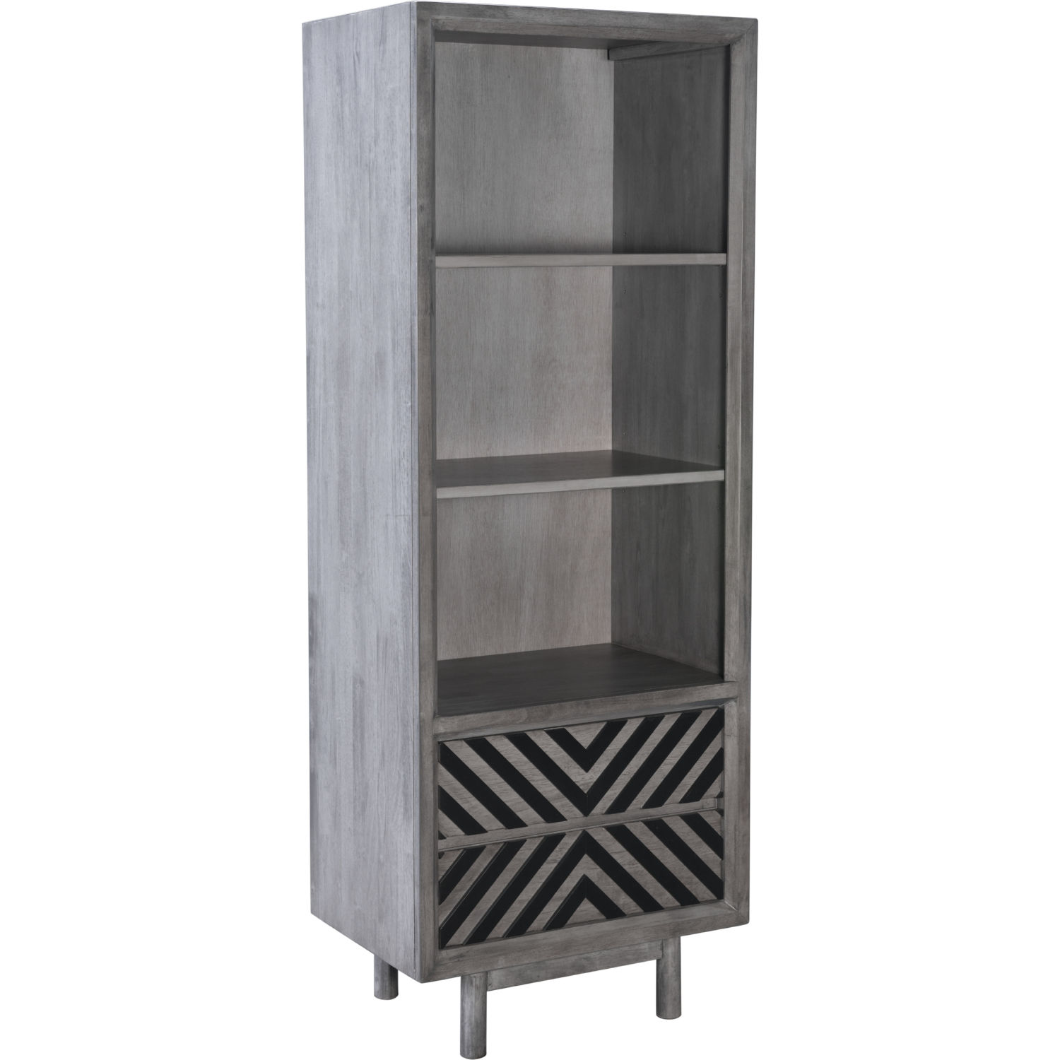 Raven Narrow Tall Bookcase In Old Gray Black Wood Chevron By Zuo